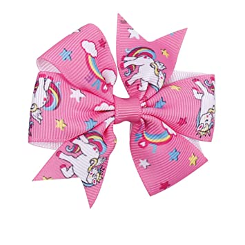 "Unicorn Pattern Girls 3/"" Mini Ribbon Bows Hairpin Grosgrain Hair Bows With Clips"