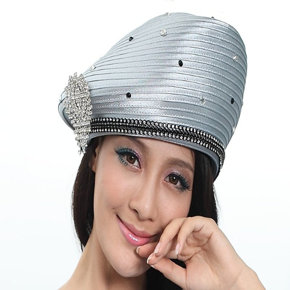 Women Girl Church Hat Satin Hat Formal Dress Beret Women Church (Silver grey)