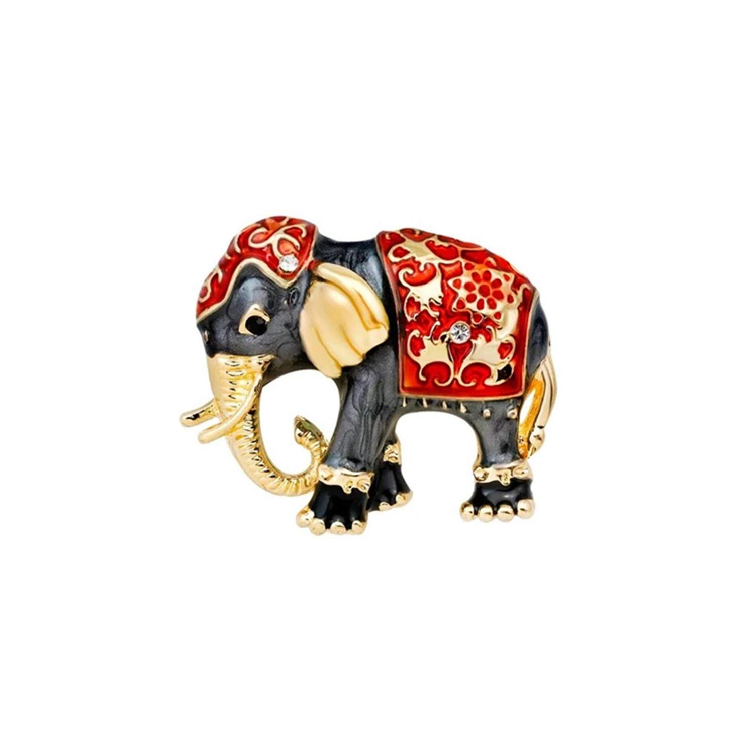 Mondora Prom Brooch Pin Animal Elephant Enamel Women's Austrian Crystal Gold-Tone ZH00114-1C