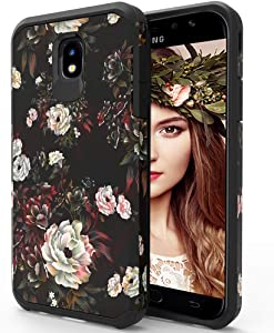 ShinyMax Samsung J7 2018 Case with Screen Protector Heavy Duty Dual Layer Protectvie Cover Cute Anti-Scratch Hybrid Shockproof Case for Galaxy J7 Crown/J7 Star/J7 Prime/J7 Refine (Floral)