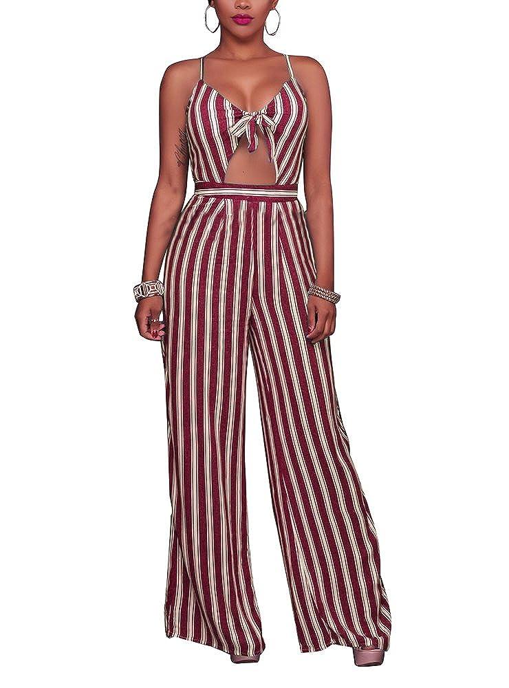 e5978e0aff44 Amazon.com  SheKiss Women s Sexy Spaghetti Strap Striped High Waist Wide Leg  Long Pants Palazzo Jumpsuit Rompers Ladies Outfits  Clothing