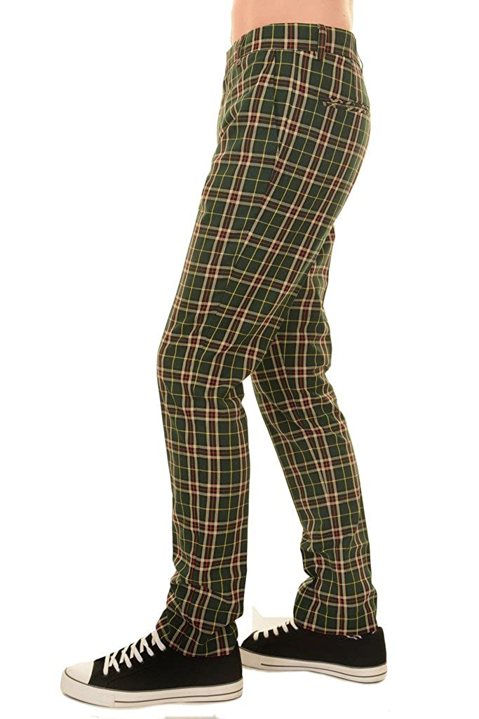 1960s Menswear Outfits | 60s Fashion for Guys Mens 60s Vintage Retro Mod Plaid Green Tartan Slim Skinny Fitting Trousers £26.99 AT vintagedancer.com