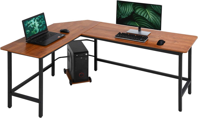Computer Desk Gaming Desk Office L Shaped Desk PC Wood Home Large Work Space Corner Study Desk Workstation (Brown)