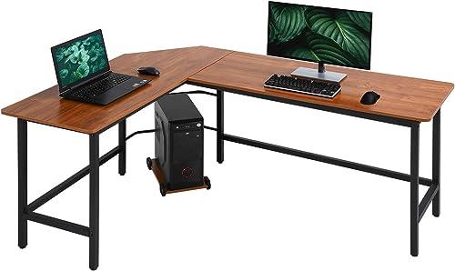 Computer Desk Gaming Desk Office L Shaped Desk PC Wood Home Large Work Space Corner Study Desk Workstation Brown