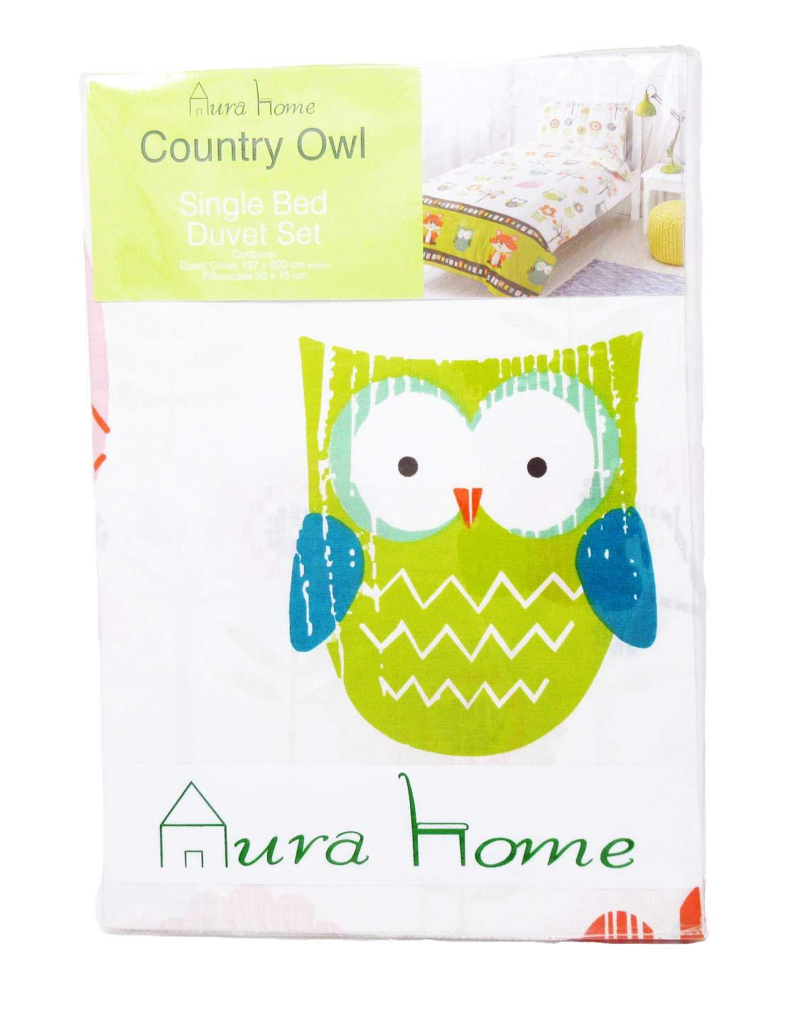 "set copripiumino /""Country Owl/"" AuraHome Cotone 40/% Poliestere 60/% Cotone Poliestere Bambino piccolo"
