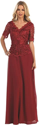 May Queen MQ1198 Classy Short Sleeve Evening Gown