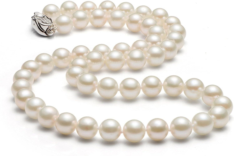 Epinki 10-11MM-1 Collar de Mujer Collar de Perlas Cadena Mujeres Joyería Nupcial con Perla