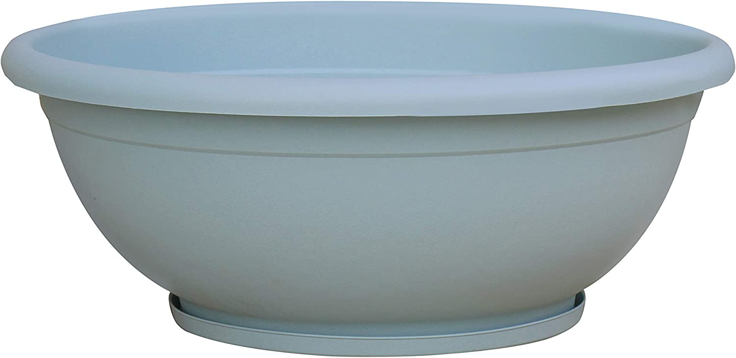 TABOR TOOLS VEN305 Plastic Planter Bowl, Garden Bowl with Attached Drainage Tray, for Indoor and Outdoor Use, Round Ø 12 Inch (Color: Pastel Blue)