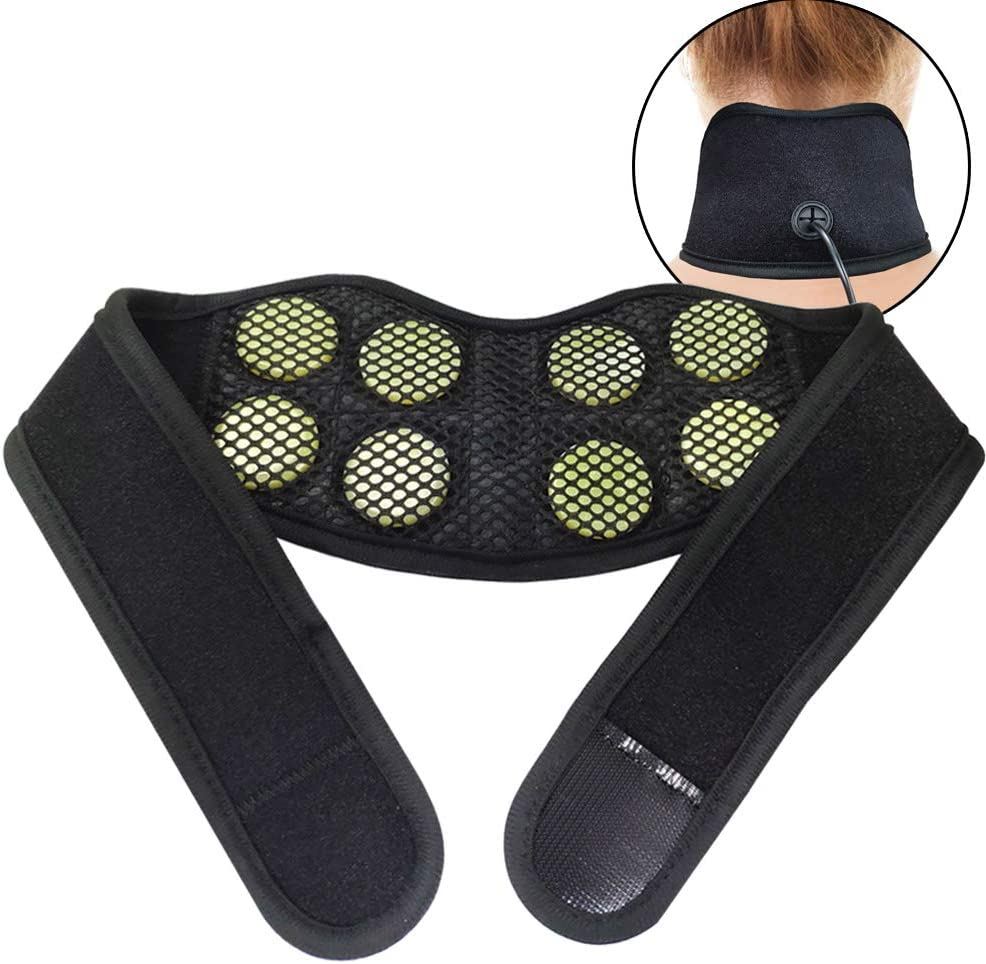 "UTK Jade Infrared Neck Heating Pad for Pain Relief, Far Infrared Heating Wraps for Knee, Wrist, Thigh and Cramps - 26"" Length with 8 Jade Stones, 3 Heat Settings, EMF Free and Auto Shut Off"
