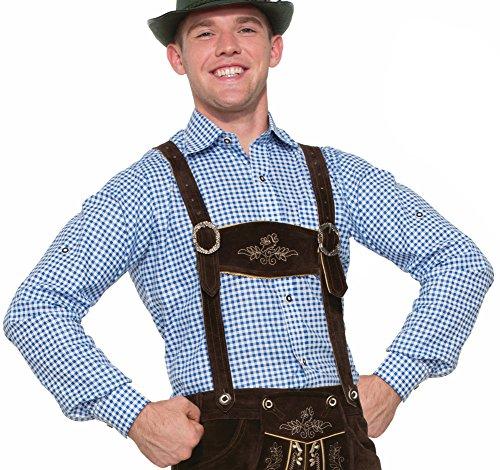 Forum 77320_S-BL-S Men's Lederhosen Shirt Adult Costume, Small, Blue, Pack of 1 ()