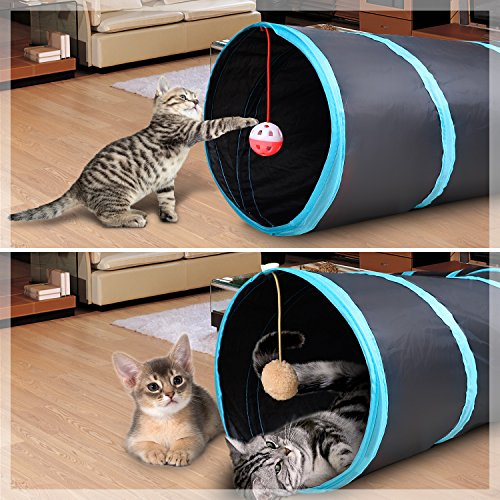 Creaker 4 Way Cat Tunnel Collapsible Pet Play Tunnel Tube Toy with a Bell Toy & a Soft Ball Toy for Cat, Puppy, Kitty, Kitten, Rabbit