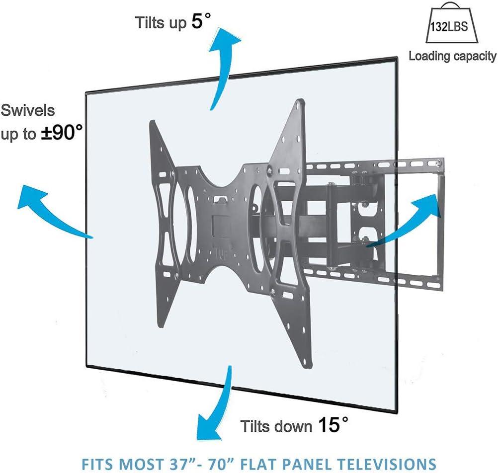 CNYF TS003-L Soporte de pared para TV de movimiento completo con brazo articulado doble para la mayoría de LED de 37 a 70 pulgadas, LCD, OLED, pantalla plana, televisores de plasma de