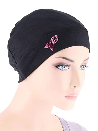 f432100a32b Amazon.com  Breast Cancer Awareness Soft Comfy Chemo Cap Hat with Pink  Ribbon Rhinestud Black  Clothing