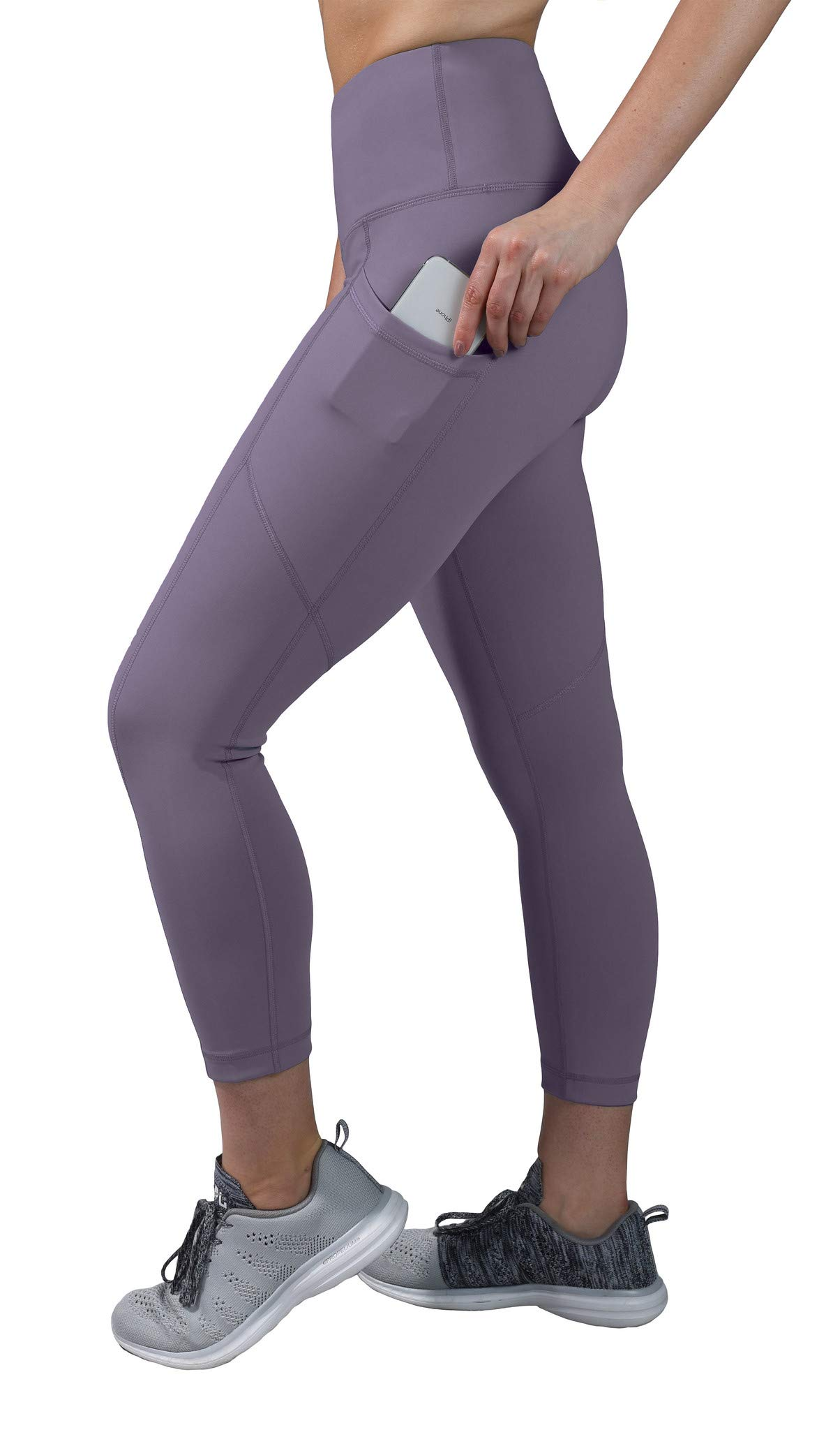 90 Degree By Reflex High Waist Squat Proof Yoga Capri Leggings with Side Phone Pockets - Plum Frost - XS by 90 Degree By Reflex