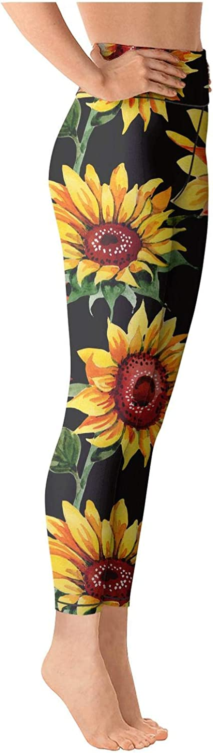 Womens High Waisted Yoga Pants Sunflowers Vintage Style Leaf Elastic Fashion Training Home Pants Trousers