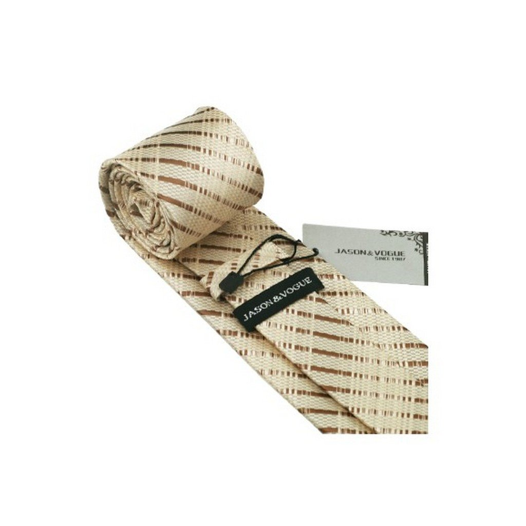 Khaki Brown Plaid Classic Silk Necktie Tie Hanky and Cufflinks Set For Men