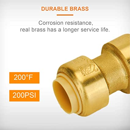 X-Large Brass Copper Zurn QQZBC23G Z-Bite Reducing Coupling Pack of 6 3//8 Push Connection x 1//2 Push Connection