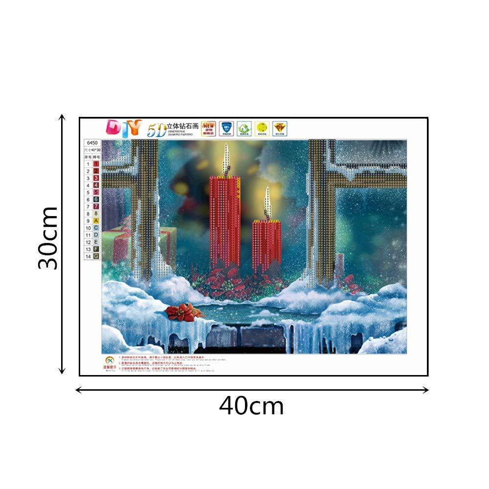 DIY 5D Diamond Painting Candle feilin Diamond Embroidery Rhinestone Painting Cross Stitch Kit Wall Art Decor 5D Diamond Painting by Number Kits Home Decor 40x30cm