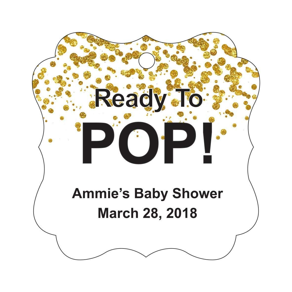 Darling Souvenir Ready to Pop Baby Shower Tags Personalized Fancy Frame Custom Gift Tags-50 Tags