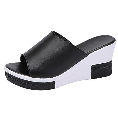 94dcf8f2d33e3 Frestepvie Tongs Compensée Mode Femme Mule Eté Sandales Confortable  Chaussure de Plage Vintage Vacances Noir 39