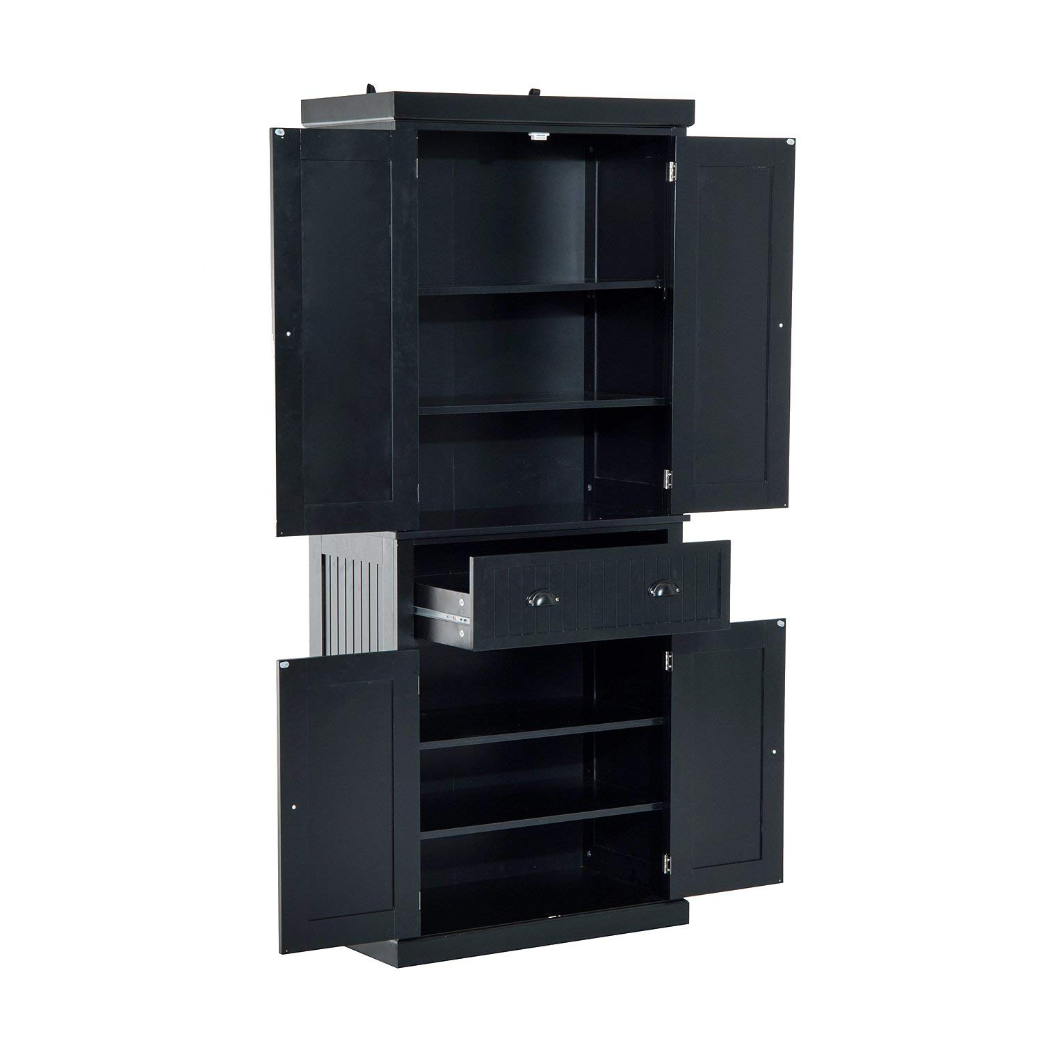 """Festnight Tall Kitchen Pantry Storage Cabinet, Traditional Standing Kitchen Pantry Cupboard Cabinet Black 72"""" by Festnight (Image #2)"""