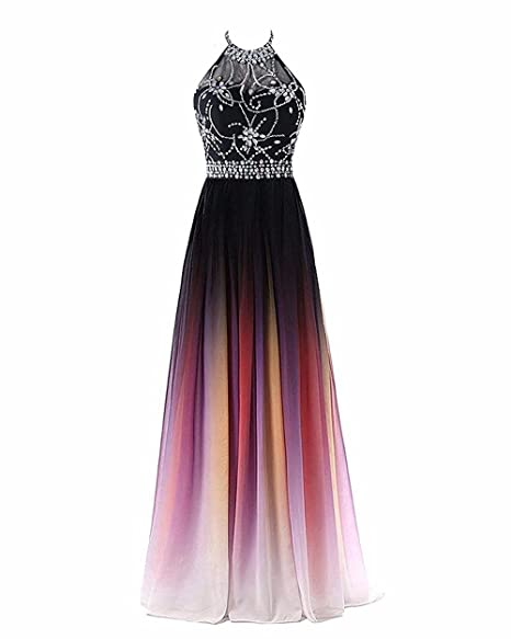 f8ef207423 AMXK Women's Gradient Chiffon Long Prom Dresses Ombre Formal Evening Party  Gowns with Crystal Beaded
