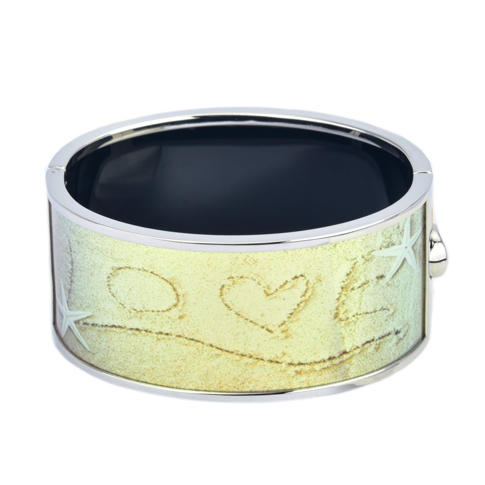 BIJOUX BOBBI Love on Sand by The Beach Printed Hinged Bangle