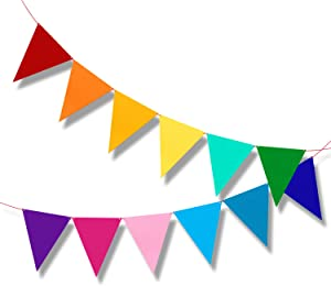 Carnival Bunting Pennant Banner Birthday Party Decorations, rainbow