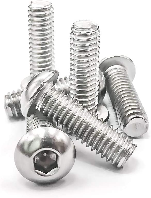 304 Stainless Steel 18-8 5//16-18x 2-3//4 Button Head Socket Cap Bolts Screws Bright Finish, 10 PCS by Eastlo Fastener Fully Machine Thread