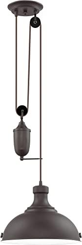 Kira Home Sequoia 13″ Large Industrial Farmhouse Pulley Pendant Light