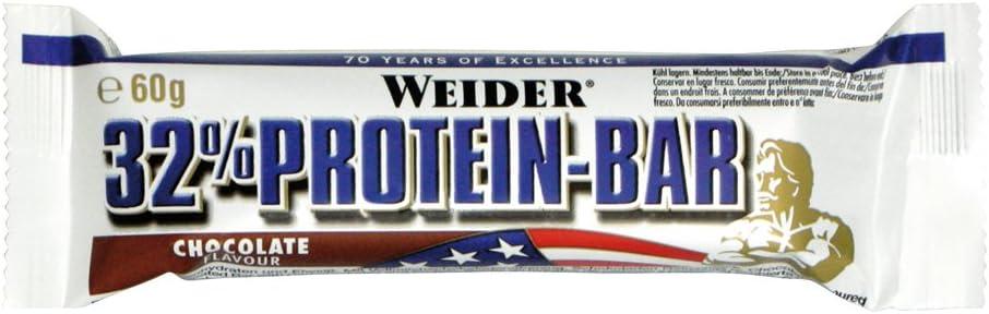 Weider Barrita de Proteína 32%. Sabor Chocolate. Libre de grasas trans (24 x 60 g)