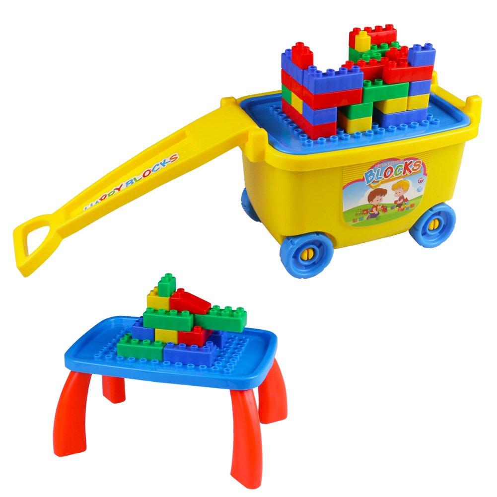 Building Blocks, Big Model Building Blocks, Apilamiento de ladrillos con caja de almacenamiento Push Along Car para niños mayores de 3 años HUACHI TOYS FACTORY