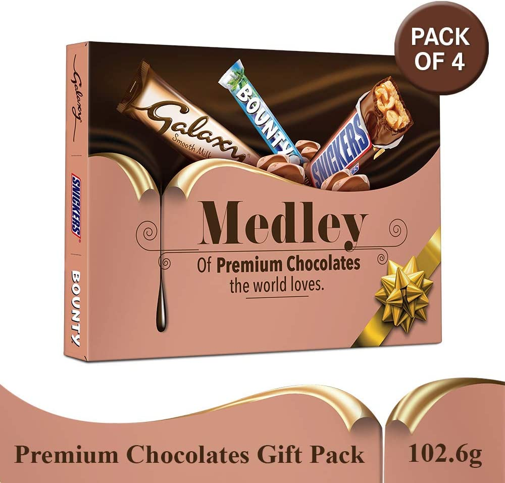 SNICKERS Medley Assorted Chocolates Diwali Gift Pack (Snickers, Bounty, Galaxy), 410.4g (Pack of 4)