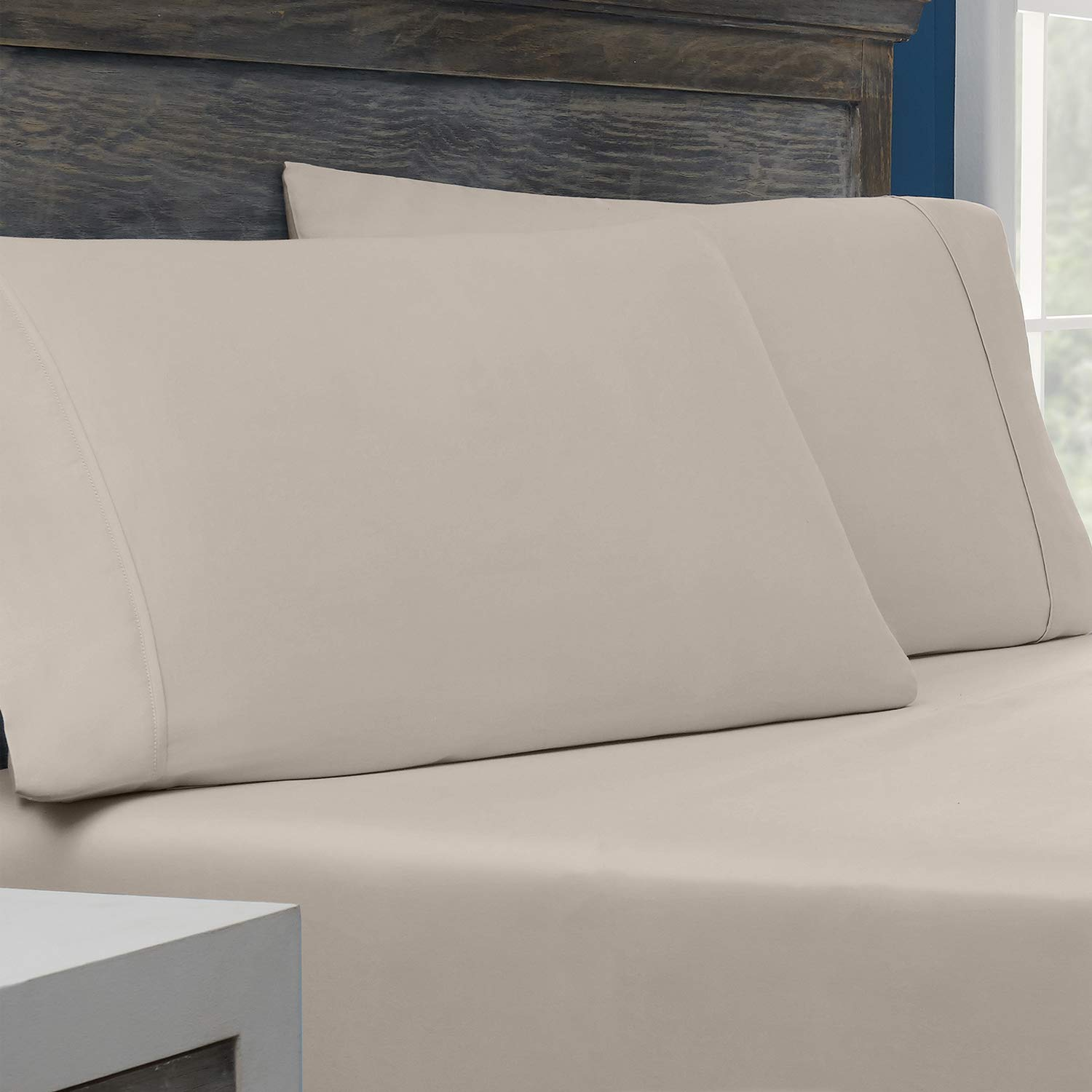 Columbia Tencel + Cotton Performance Pillowcase PK of 2 – Omni-Wick Moisture Wicking Stay Dry Technology – Naturally Soft, Cool, Breathable Temperature Regulating - King Pillowcases - 2PK, Pumice