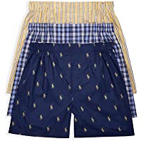 POLO RALPH LAUREN Classic Fit Woven Cotton Boxers 3-Pack, M, Plaid/Stripe Combo