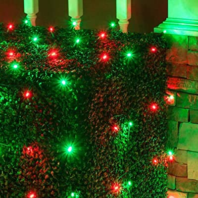 Set of 100 LED Net Lights –Christmas Net Lights, Outdoor Christmas Decorations, Green Wire