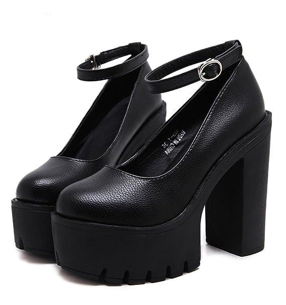 Minetom Mujer Moda Zapatos de Tacón Correa Tobillo Tacones Gruesos plataforma Tacones Altos Zapatillas: Amazon.es: Ropa y accesorios