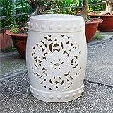 International Caravan Isfahani Ceramic Garden Stool in Antique White