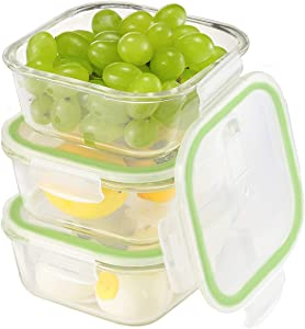 Aibeide Square Glass Food Storage Containers – Oven & Freezer Safe - Airtight with Snap Locking Vented Lids - 3 Piece Set(27 oz) - BPA FREE