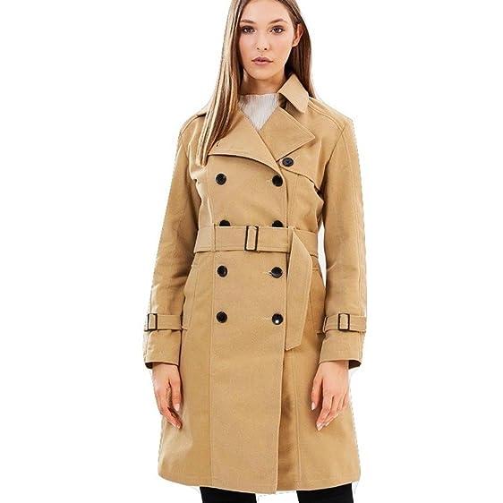 winter coat vegan womens trench coat faux suede camel color - Camel Color