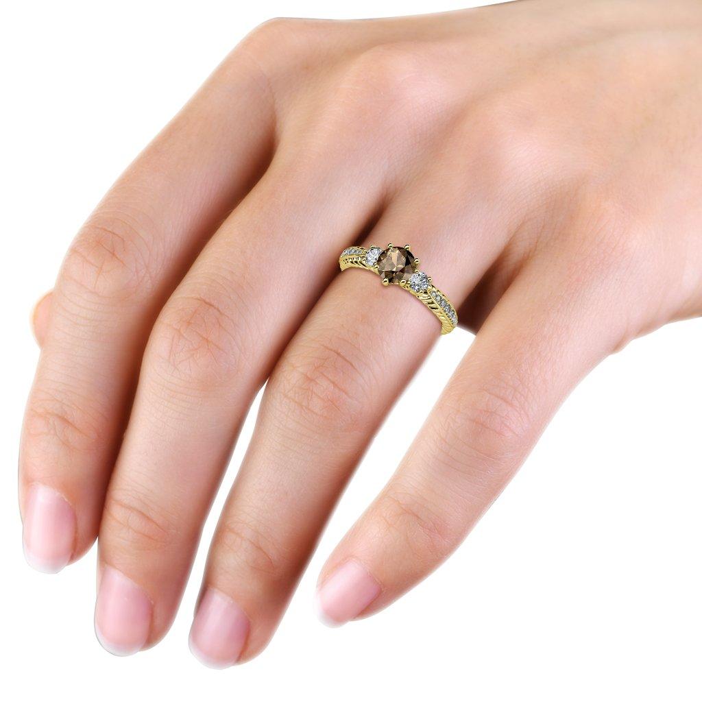 Smoky Quartz and Diamond Three Stone Ring with Diamond on Side Bar ...