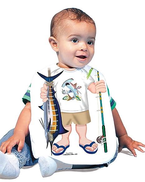 313abe3ce18ca Just Add A Kid Baby Boy's Fishing Saltwater 605 Baby Bib 0-6 Months White