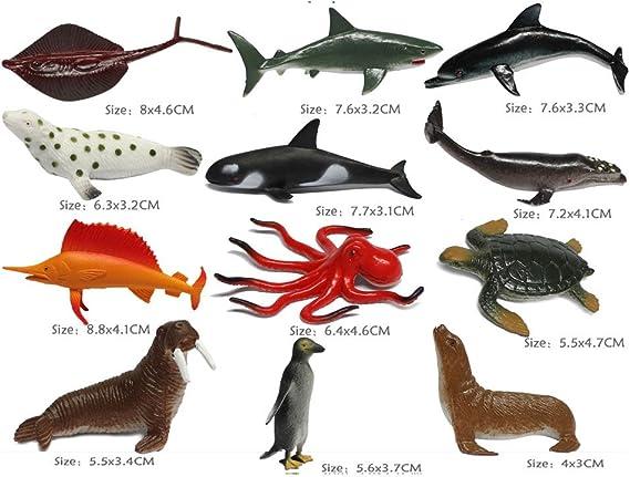 NiGHT LiONS TECH 36 pcs Aquatic Creatures Set Emulational Octopus Crab sea Lion Educational Toy