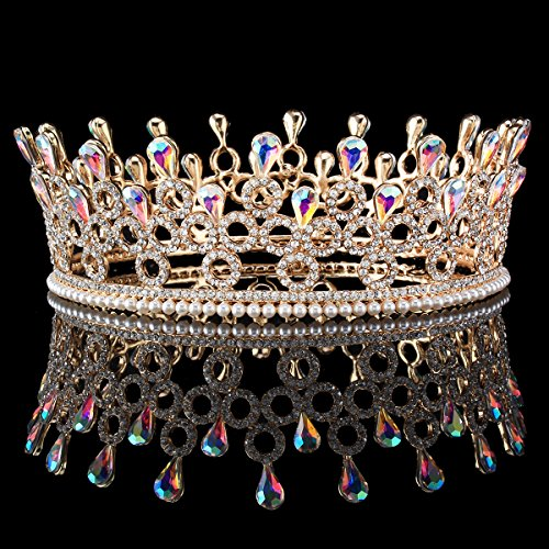 Zebratown Gold Bridal Crystal Tiara Crowns Princess Queen Pageant Prom Rhinestone Pearl Headband Wedding Hair Accessory (Princess Tiara Jeweled)