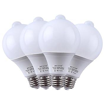 Amazon.com: foco LED con sensor, 4 unidades E27 7 W LED ...