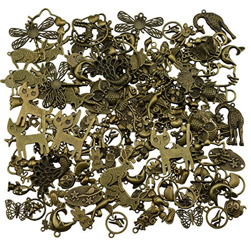 400 Gram Assorted Antique Bronze Animal Charms Pendant Bracelet Necklace Earrings Crafting DIY Jewelry Making Accessory (400 Gram, Bronze)