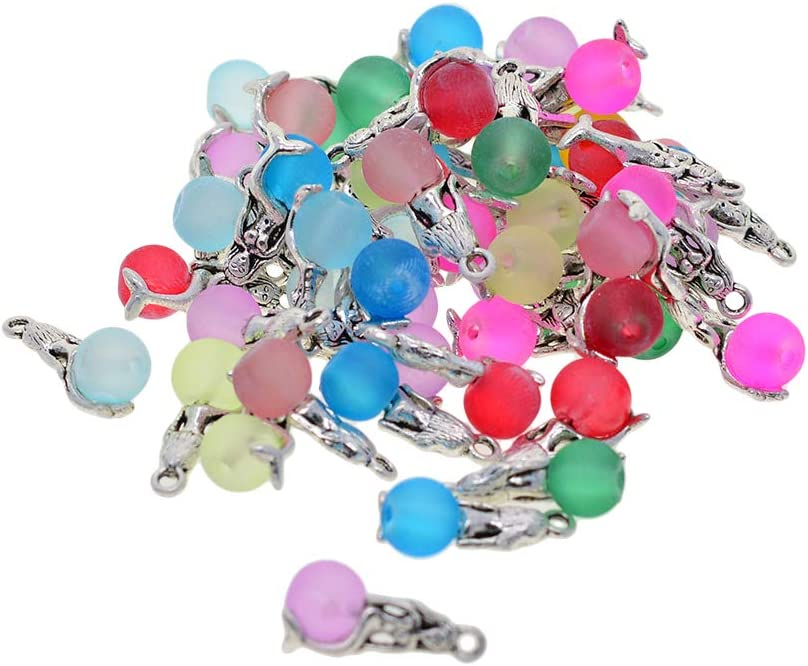 Jewellery Finding Craft Decoration Accessories dailymall 50pcs Mixed Styles Mermaid Pendant Charm for DIY Jewellery Making Necklace Style 1 Keyring Bracelet Earring