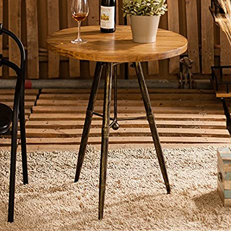 WGX Industrial Wood Round End Table Coffee Table, Steampunk Rustic Urban  Designs Table