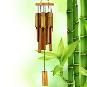 VIITION Wooden Wind Chimes Outdoor, Bamboo Wind Chimes with Amazing Deep Tone for Patio Garden Home Décor, Natural Beautiful Sound