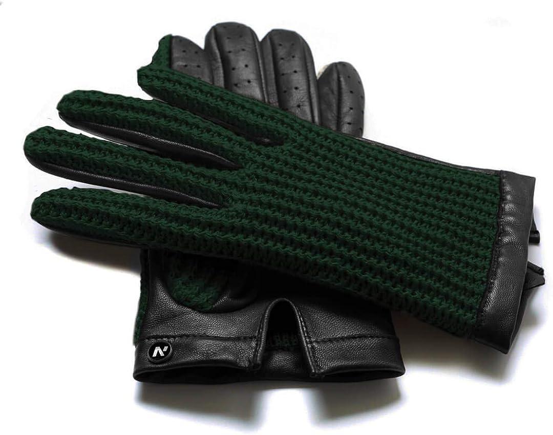napo gloves napoCROCHET Schwarz und Gr/ün Touchscreen Lederhandschuhe f/ür Herren Beige klassische retro Autohandschuhe aus Lammnappa Leder in Braun